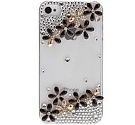 Delicate Schleierkraut und Diamant Transparent Hard Case mit Kleber für iPhone 4/4S (verschiedene Farben)