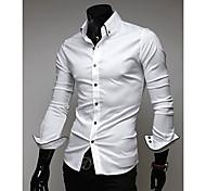 Ocasional camisa delgada de manga larga hombre