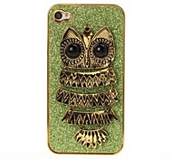3D Owl Pattern Plating Skinning Green Case for iPhone 4/4S