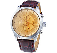 Men's Water Resistant Calendar Round Dial PU Band Quartz Analog Wrist Watch (Assorted Color)