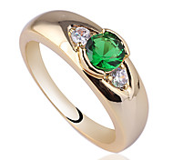 Women's Gold Plated 925 Sterling Silver Ring 4.5Mm Round Zircon Paved