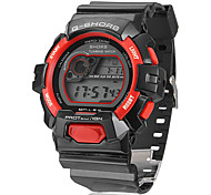 Unisex Digital LCD Multifunctional Black Rubber Band Wrist Watch (Assorted Colors)