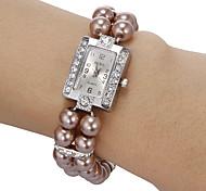 Women's Diamante Square Dial Peal Band Quartz Analog Bracelet Watch (Assorted Colors) Cool Watches Unique Watches
