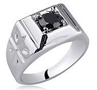 Carve On Band Men White Gold Finish Solid Sterling Silver Ring With Zircon