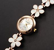 Damen Armband-Uhr Quartz Armbanduhren für den Alltag Legierung Band Blume Weiß Marke