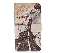 Eiffelturm Postkarte Muster-Leder-Ganzkörper-Case mit Ständer für Samsung i9500 Galaxy S IV