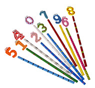 Ten Pack Number Style Wooden Multi-Color Wood Case Pencil