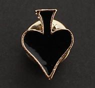 Mode unisexe 1.7cm d'or alliage Broche Poker (noir, rouge)