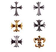 20PCS Bronze Golden&Silver Retro Chrome Hearts Nail Art Decorations(Assorted Colors,No.7-12)