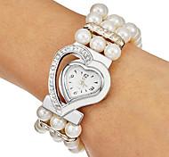 Women's Diamante Heart Dial Band Quartz Analog Bracelet Watch (Assorted Colors)