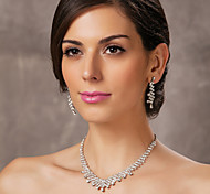 bello il ceco strass lega placcata nozze gioielli di sposa, tra collana e orecchini
