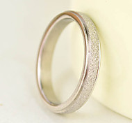 Lovers Shining Silver Sand Surface Stainless Steel Ring