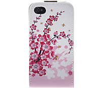 Flor del ciruelo de la PU Leather Case Bady completa para el iPhone 4/4S