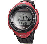 Men's Multi-Functional Lcd Digital Red Dial Rubber Band Quartz Analog Wrist Watch