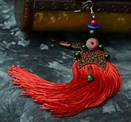 Ethnic (Tassel) Red Fabric Drop Earrings (1 Pair)