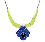 Vintage Oil Green-Blue Pendant Necklace