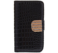 Crocodile Stripe Pattern Full Body Case with Golden Diamond Button and Card Slot for iPhone 4/4S (Assorted Colors)