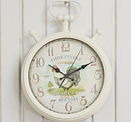 "18""H Country Style Cock Pattern Metal Wall Clock"