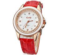 Diamante ronde des femmes Dial PU bande de quartz analogique montre-bracelet