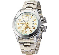 Men's Dress Watch Calendar Water Resistant / Water Proof Quartz Japanese Quartz Stainless Steel Band Silver