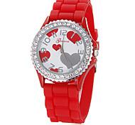 Mulheres Coração Padrão Diamante Round Dial borracha de silicone de quartzo analógico relógio de pulso