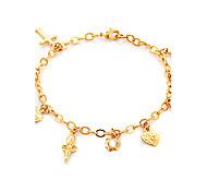 u7® 18k goldplatinum verdadero plateado pulsera de los encantos cruzados de hadas corazones oso brazaletes de alta calidad para las niñas