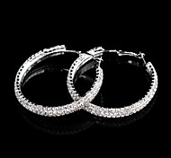 Fashion Round Drop Silver Plated Hoop Earrings (Silver) (1 Pair)