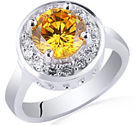 Women Fashion Real .925 Sterling Silver Ring With Round Shape Zircon