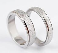 Lovers Shining Silver Sand Oberfläche Edelstahl-Ring