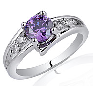 Women Sterling Silver Ring 6Mm With Round Cubic Zirconia Stone