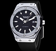 Men's Auto-Mechanical Black Dial Silicone Band Wrist Watch