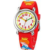 Children's 3D Cartoon Princess Pattern Silicone Band Little Round Dial Quartz Analog Wrist Watch
