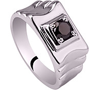 Men'S Real Sterling Silver Ring For Anniversary With Zircon Stone