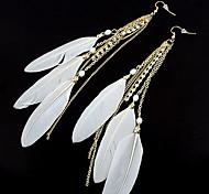 aretes de diamantes de imitación de plumas estilo dulce (colores surtidos)