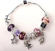 perlas púrpura pulsera del encanto de la mujer pulseras de abalorios artesanales de estilo europeo