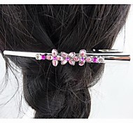 Fashion Beautiful Crystal Pink Flower Hairpins for Women