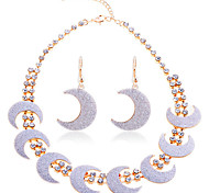 Lureme®Glitter Crescent Shape Earrings Necklace Set