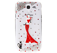 For Samsung Galaxy Case Rhinestone / Transparent / Pattern Case Back Cover Case Sexy Lady PC Samsung S4