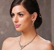 bellissima collana con strass ceco matrimonio lega placcata e gioielli orecchini set
