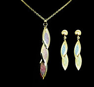 Beautiful Alloy Gold Leaves Drop Women's Jewelry Set (Including Necklace,Earrings)