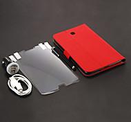 Cloth Marks PU bolsas de cuero + Stylus Pen + cargador de pared + USB Cable + HD Screen Protector 2 piezas para Samsung Galaxy P3200 TAB3