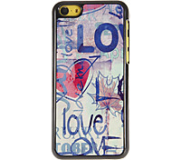 Scrawl of Love Pattern PC Hard Case with 3 Packed HD Screen Protectors for iPhone 5C