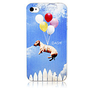 Original Dog In The Sky Pattern Transparent Frame Back Case for iPhone 4/4S