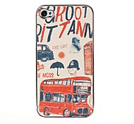 Red Bus Pattern Pasting Skin Case for iPhone 4/4S