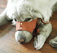 Rivet Adjustable Leather Bite Bit Stop Training Muzzle for Pets Dogs