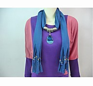 Polyester Cotton Dark Blue Stone Pendant Scarf  Necklace