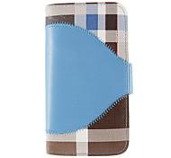 Simili cuir et plastique flip Plaid conception Pochettes de fermeture magnétique pour Samsung Galaxy i9500 S4