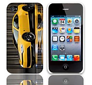 Yellow Coupe Pattern Hard Case with 3-Pack Screen Protectors for iPhone 4/4S