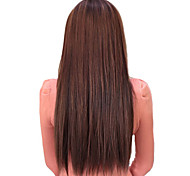 25 Inch Clip in Synthetic Light Brown Straight Hair Extensions with 5 Clips