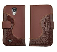 Carteira de couro de crocodilo PU Stand Case Flip for i9500 Samsung Galaxy S4